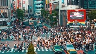 Pedestrians crossing one of the busiest crosswalks