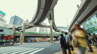 People and traffic time lapse at a big intersection in Tokyo
