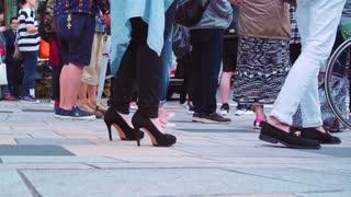People walking outside Tokyu Plaza, Omohara, Tokyo