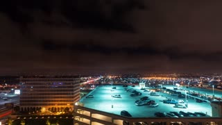 Plane and car traffic time-lapse at LAX at night