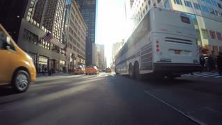 Point of view time-lapse driving shot through Manhattan, NY