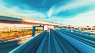 POV monorail time-lapse ride through Kobe, Japan