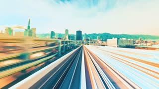 POV monorail timelapse ride through Kobe, Japan