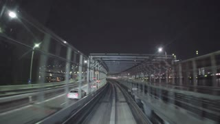 POV real-time ride through Tokyo tunnels via the Yurikamome