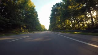 POV shot driving down the highway