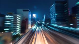 POV time lapse backwards through Tokyo via the Yurikamome