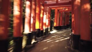 POV time-lapse through the famous orange gates at Fushimi Inari Shinto shrine