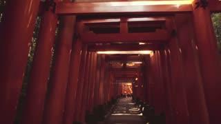 POV walk through the famous orange gates at Fushimi Inari Shinto shrine in Kyoto