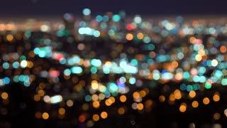 Rack focus of LA at night