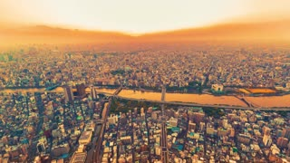 Sunset time-lapse high above Tokyo