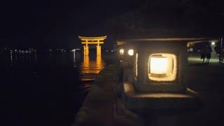 The lanterns lining the shore of Itsukushima shrine on Miyajima