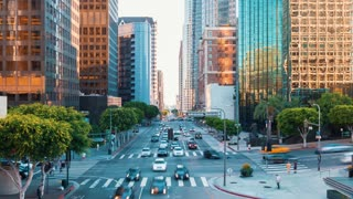 Time-lapse at a busy intersection in Downtown LA