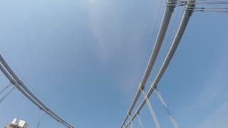 Time-lapse looking up at the cables and towers of the Verrazano Bridge