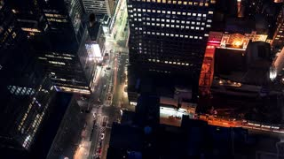 Time-lapse of a Midtown Manhattan Intersection at in night
