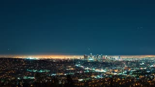 Time-lapse of downtown LA from above at night