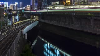 Time-lapse of multiple train lines in Tokyo