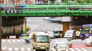 Time-lapse of people and traffic at a busy intersection in Tokyo.