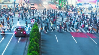 Time lapse of people and traffic crossing the famous Japanese intersection