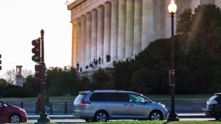 Time lapse of people visiting the Lincoln Memorial in