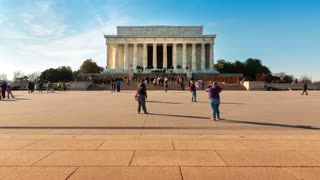Time lapse of people visiting the Lincoln Memorial