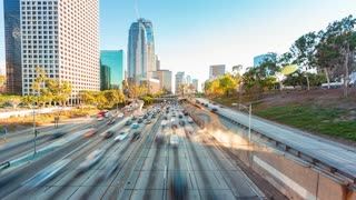 Time-lapse of rush hour freeway traffic in downtown LA