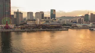 Time lapse of ships entering Kobe harbor at sunset