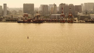 Time-lapse of ships in Tokyo Bay at sunset