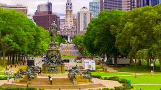 Time-lapse of the Benjamin Franklin Parkway overlooking City Hall