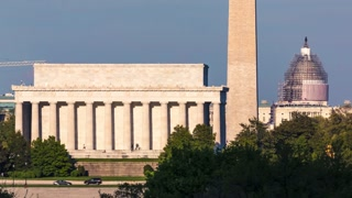 Time-lapse of the Lincoln Memorial, Washington Monument, and the Capitol
