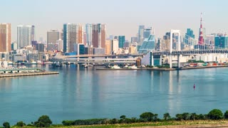 Time-lapse of Tokyo Bay with a view of the Rainbow Bridge and the Tokyo skyline