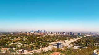 Time-lapse overlooking Brentwood, LA with a view of the 405 freeway