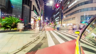 Time-lapse taxi ride through the Tokyo at night