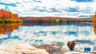 Timelapse of a lake in the Blue Ridge Mountains, NC in the autumn