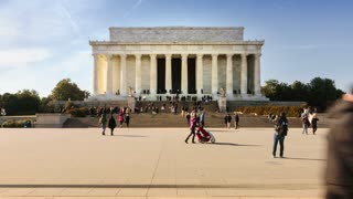 Timelapse of people visiting the Lincoln Memorial (4K)