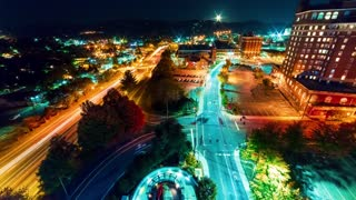 Timelapse of the city lights of Asheville, North Carolina at night