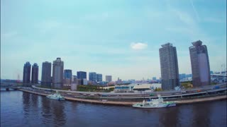 Tokyo bay view shot from moving vehicle