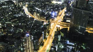 Tokyo highway intersection time-lapse at night