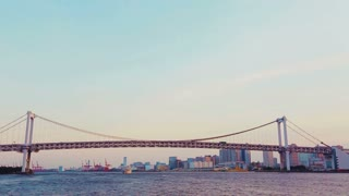 Tokyo's famous Rainbow Bridge taken from a ship on the Sumida River