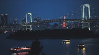 Two famous Tokyo landmarks. The Rainbow Bridge and Tokyo Tower at night