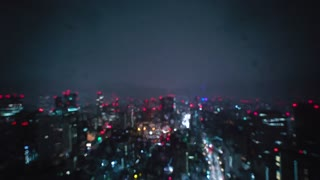 Abstract blurred bokek view of the Tokyo cityscape at night