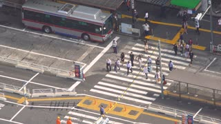 Aerial view of a bus terminal in Shibuya, Tokyo, Japan