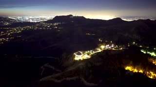 Aerial view of a Griffith Park in and Los Angeles in 4k
