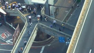 Aerial view of a pedestrian footbridge in Shibuya, Tokyo, Japan