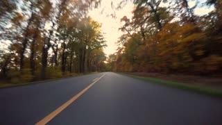 Autumn POV driving time-lapse of the Blue Ridge Parkway through North Carolina at sunset