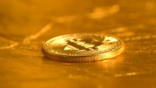 Bitcoin coin falling and bouncing in slow motion
