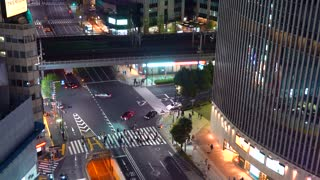 Intersection in Ginza, Tokyo, Japan at night