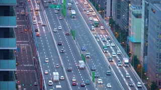 Large highway in Osaka, Japan at twilight
