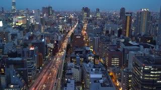 Large highway in Osaka, Japan at twilight