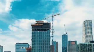 LOS ANGELES, CA -November, 15th 2017: Construction continues in time-lapse in Downtown LA on November, 15th 2017