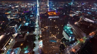 LOS ANGELES, CA -November, 15th 2017: Traffic surges through Downtown LA in time-lapse on the night of November 15th 2017